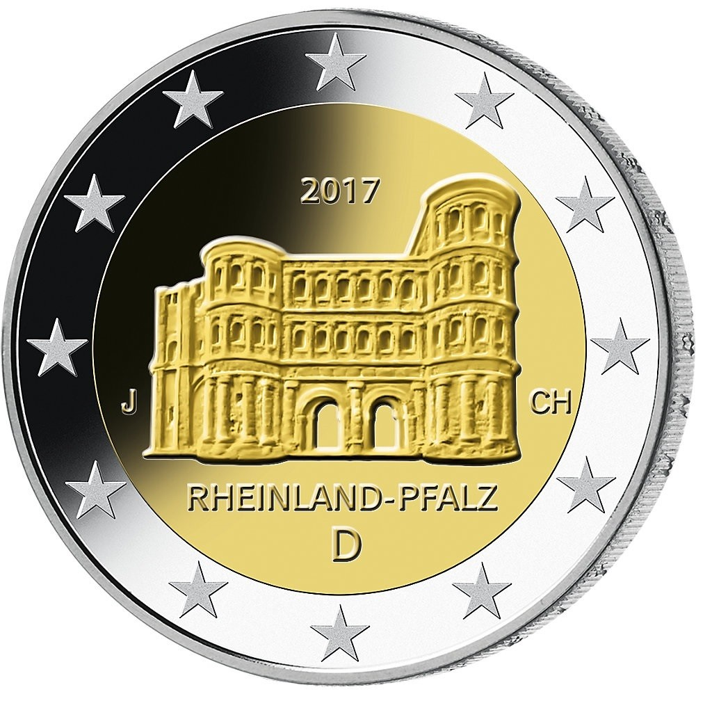 duitsland 2 euro 2017 rheinland pfalz porta nigra bijzondere 2 euromunten eurocoinhouse. Black Bedroom Furniture Sets. Home Design Ideas