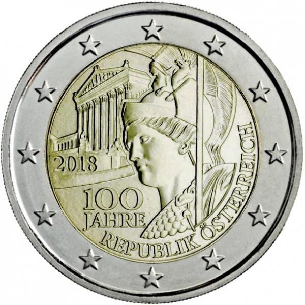 Oesterreich 2 Euro 2018 100 Jahre Oesterreich 2 Euro Münzen