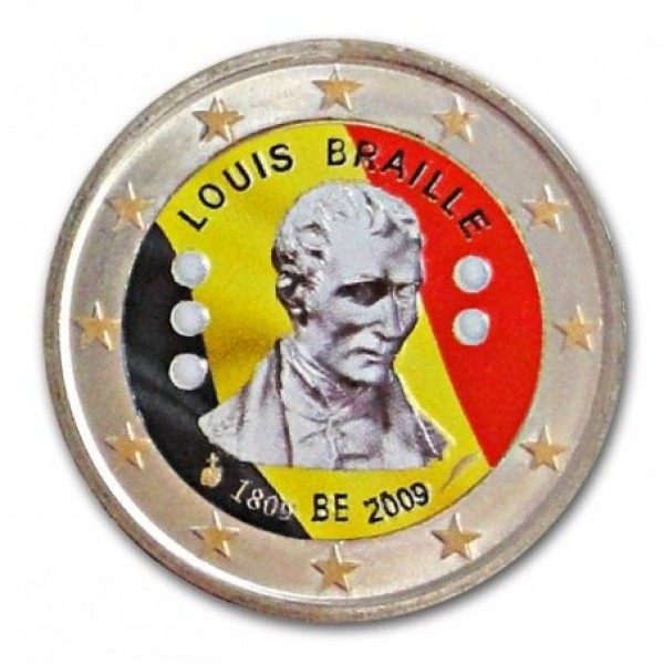 Belgien 2 Euro Sondermünze 2009 200 Geburtstag Von Louis Braille