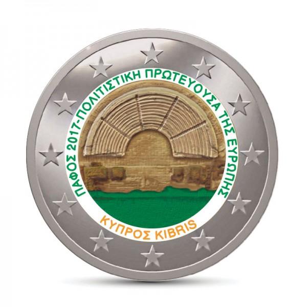 Zypern 2 Euro 2017 Paphos Farbig Farbige 2 Euro Münzen Eurocoinhouse