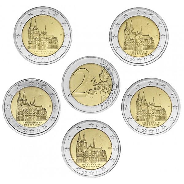 Deutschland 2 Euro 2011 Köln 5 Prägestätten 2 Euro Münzen
