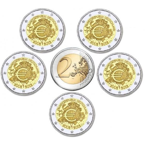 Deutschland 2 Euro 2012 10 Jahre Euro Bargeld 5 Prägestätten 2