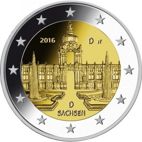 Deutschland 2 Euro 2016 Dresdner Zwinger Sachsen 2 Euro Münzen