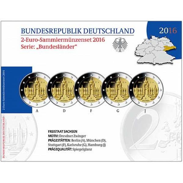 Deutschland 2 Euro 2016 Dresdner Zwinger Sachsen Pp 2 Euro Münzen
