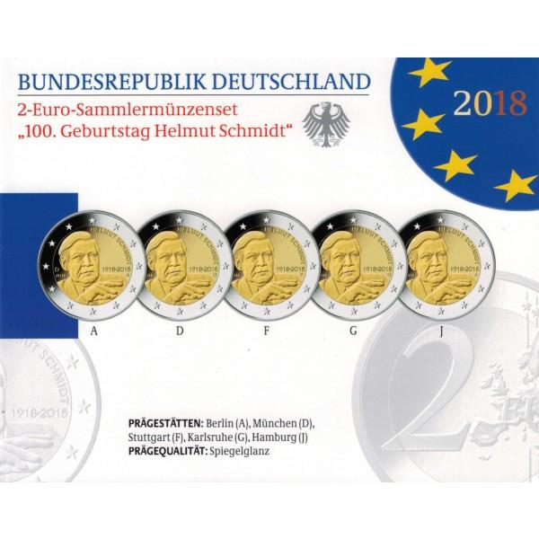 Deutschland 2 Euro 2018 Helmut Schmidt Proof Länder Eurocoinhouse