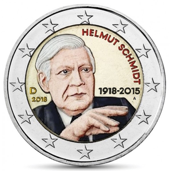 Deutschland 2 Euro 2018 Helmut Schmidt Farbig Farbige 2 Euro