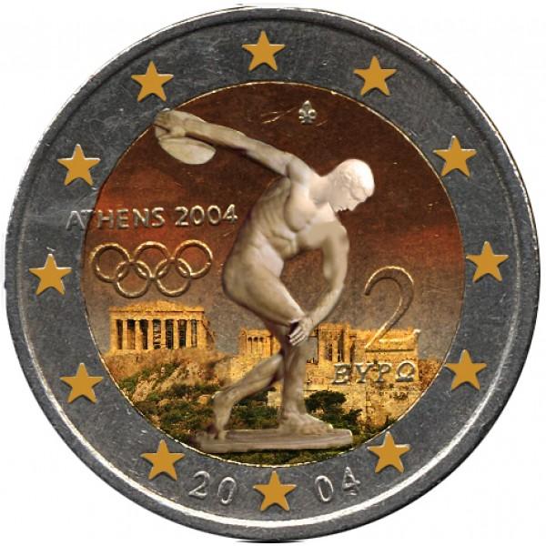 Griechenland 2 Euro 2004 Olympische Spiele Farbig Farbige 2 Euro