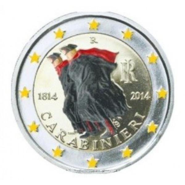 Italien 2 Euro 2014 Carabinieri Farbig Farbige 2 Euro Münzen