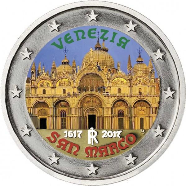 Italien 2 Euro 2017 Markusdom Venedig Koloriert Farbige 2 Euro