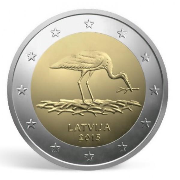 Lettland 2 Euro 2015 Schwarzstorch 2 Euro Münzen Eurocoinhouse