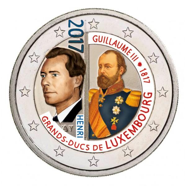 Luxemburg 2 Euro 2017 Wilhelm Iii Farbig Farbige 2 Euro Münzen