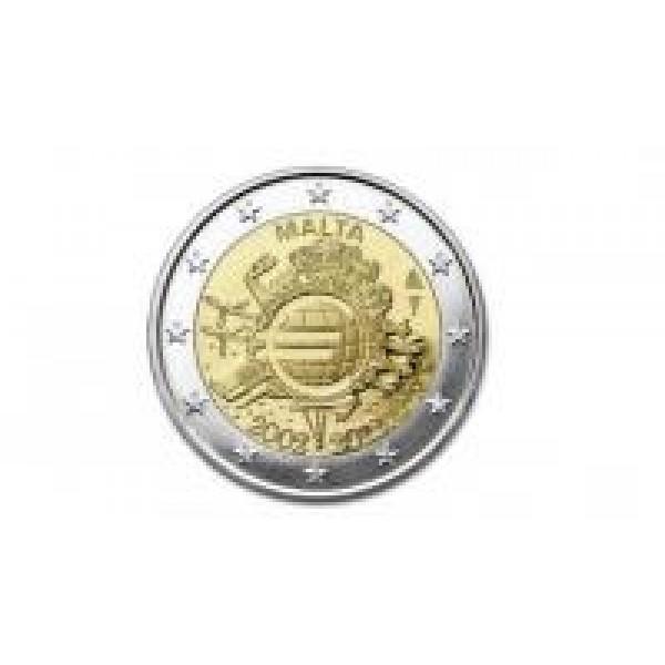 Malta 2 Euro 2012 10 Jahre Euro Bargeld