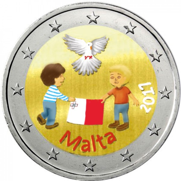 Malta 2 Euro 2017 Frieden Farbig Farbige 2 Euro Münzen Eurocoinhouse