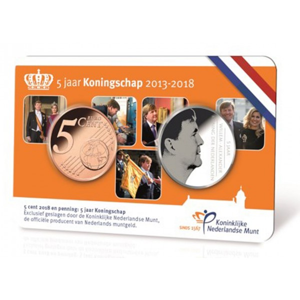 Niederlande 5 Cent 2018 Coincard Willem Alexander Eurocoinhouse