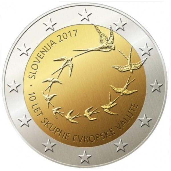 Slowenien 2 Euro 2017 10 Jahre Euro In Slowenien 2 Euro Münzen