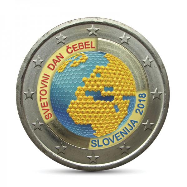 Slowenien 2 Euro 2018 Weltbienen Tag Coloriert Farbige 2 Euro