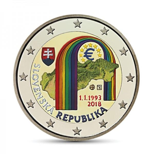 Slowakei 2 Euro 2018 25 Jahre Slowakei Farbig Farbige 2 Euro