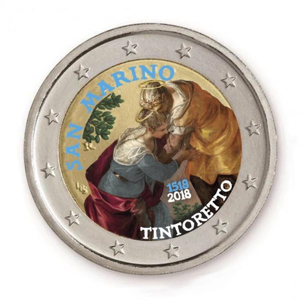 San Marino 2 Euro 2018 Tintoretto Farbig Farbige 2 Euro Münzen
