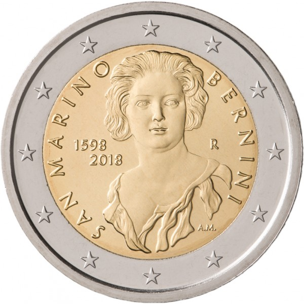 San Marino 2 Euro 2018 Bernini In Münzenrämchen 2 Euro Münzen