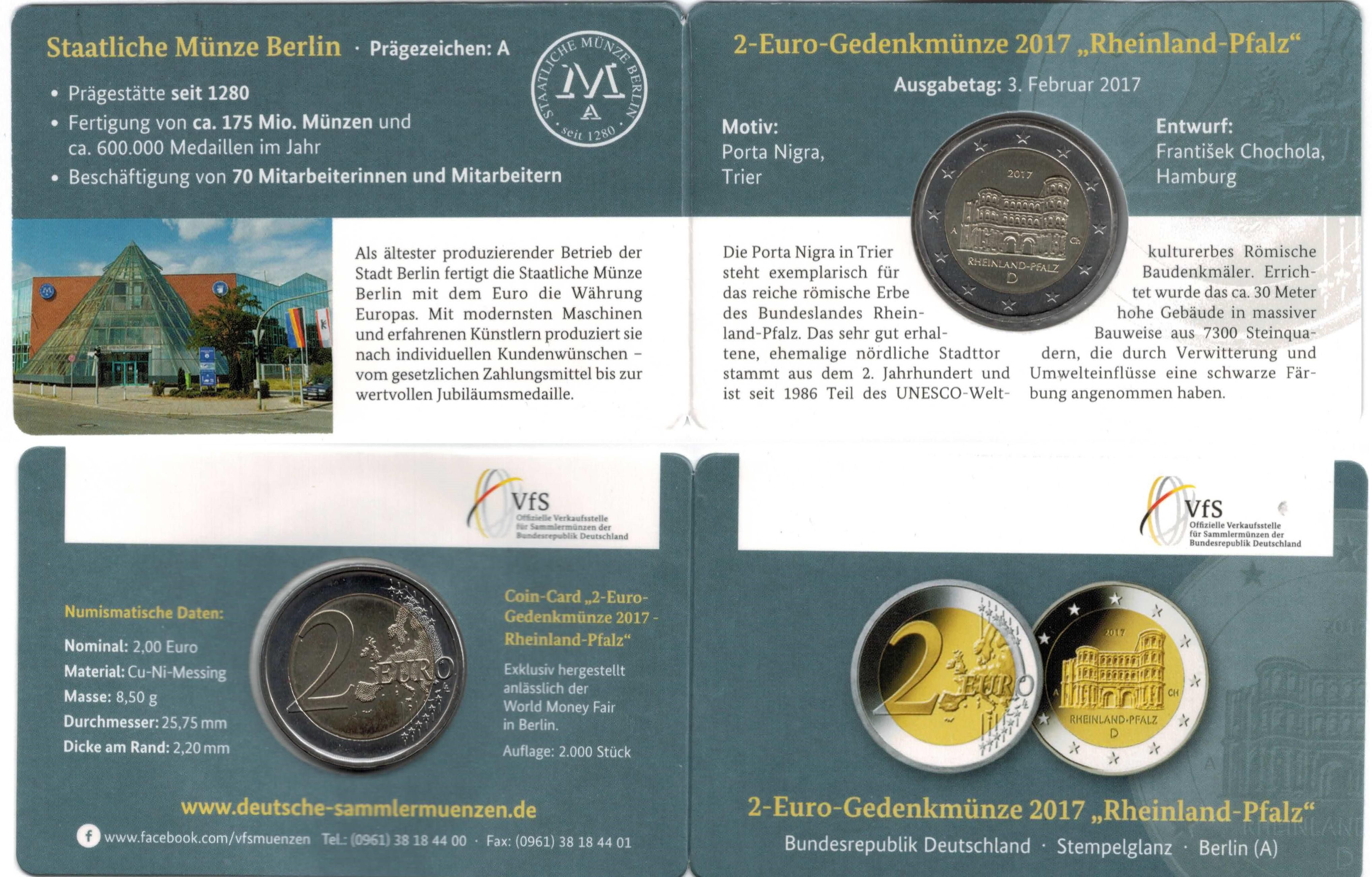 Deutschland 2 Euro 2017 Coincard Rheinland Pfalz Berlin A