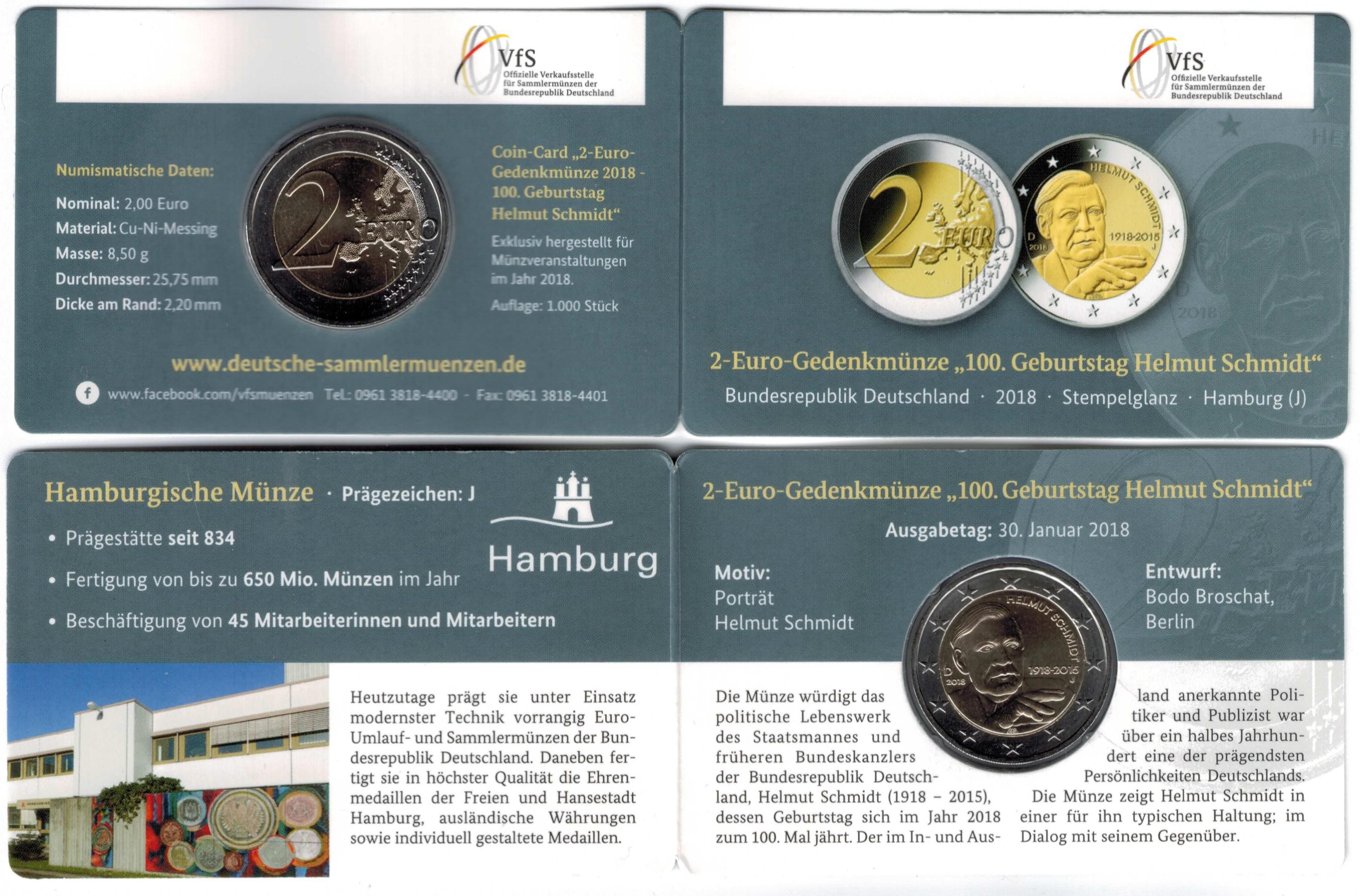 Deutschland 2 Euro 2018 Coincard Helmut Schmidt Eurocoinhouse