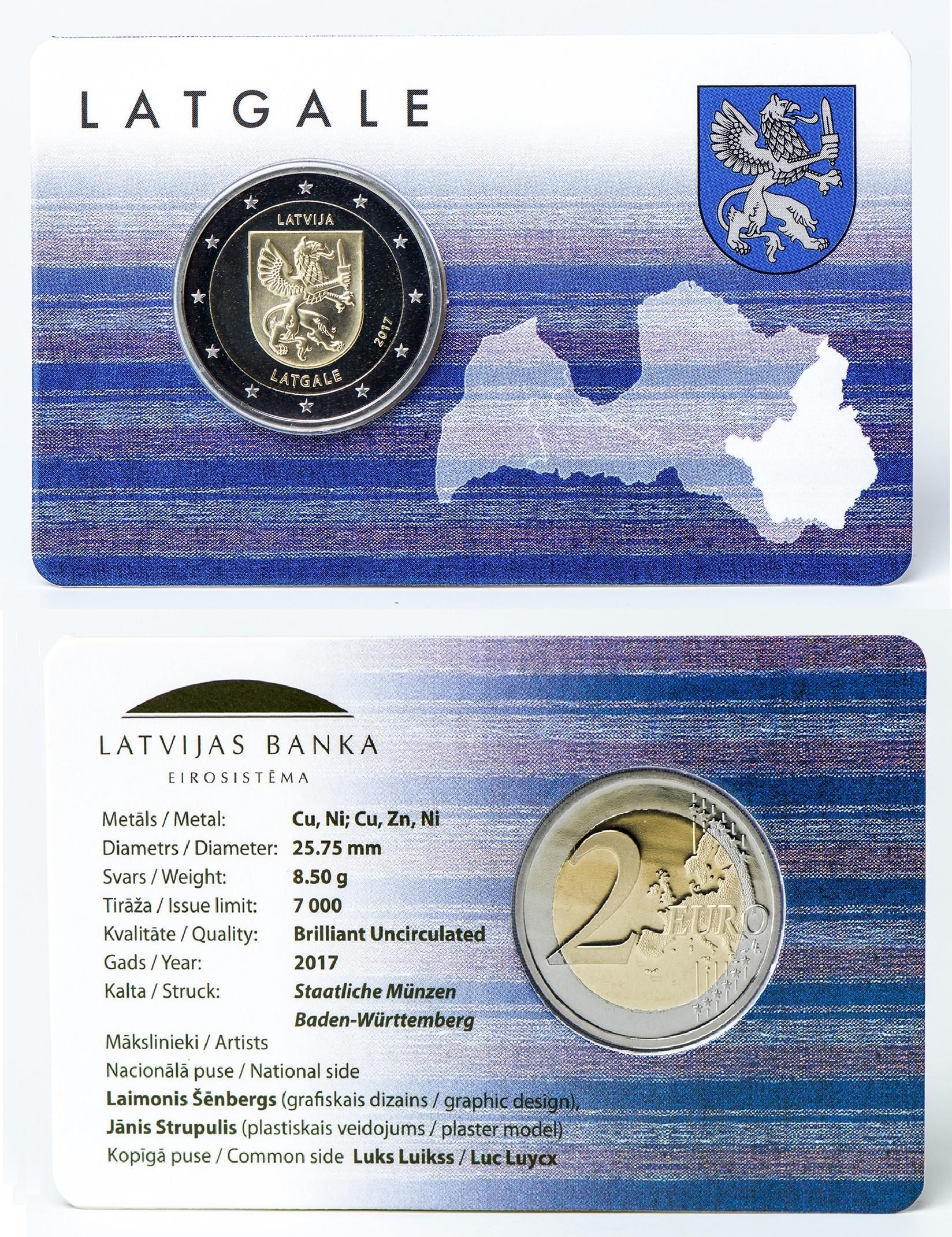 Lettland 2 Euro 2017 Lettgallen Coincard Eurocoinhouse