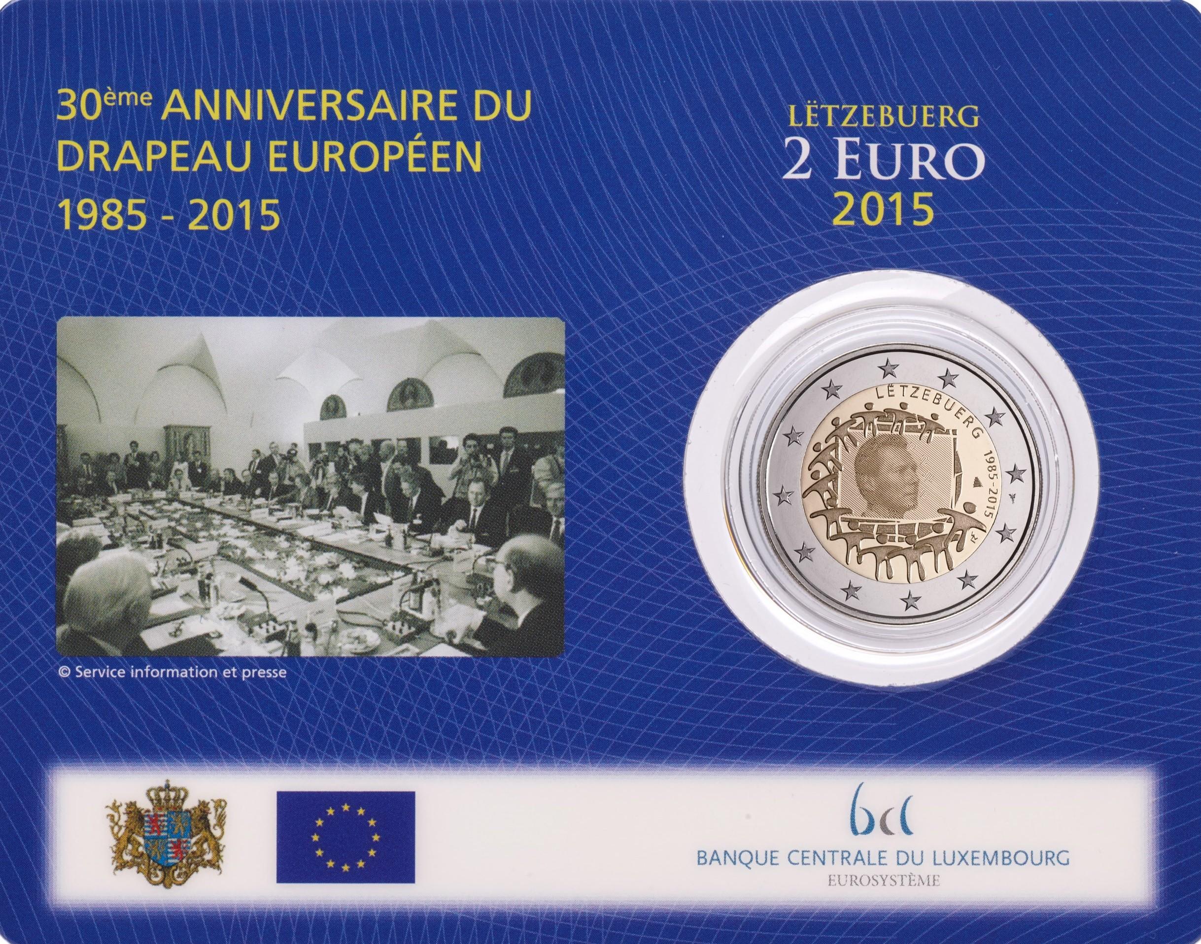 Luxemburg 2 Euro 2015 30 Jahre Europa Flagge Coincard Eurocoinhouse