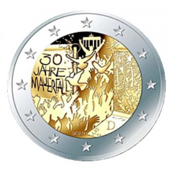 Unc Fall of Berlin Wall 2 Euro Germany 2019