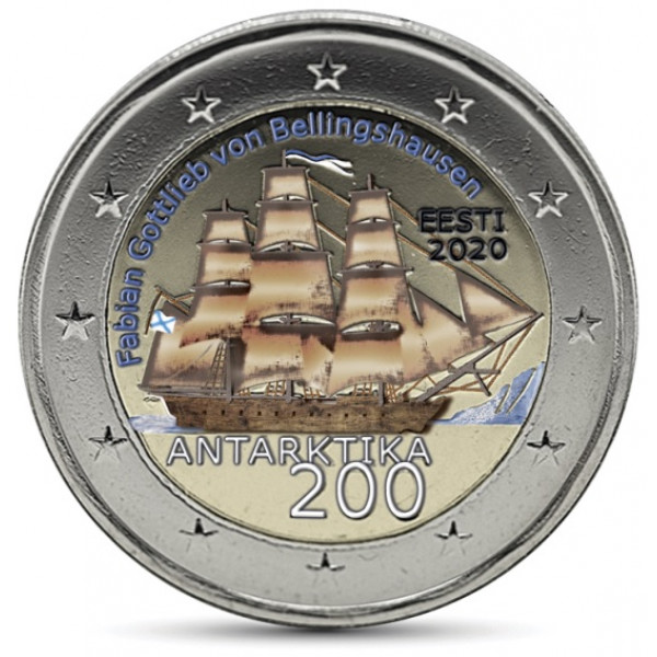 2020 Estonia € 2 Euro Uncirculated UNC Coin Discovery of Antarctica 200 Years