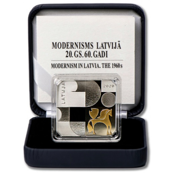 MODERNISM IN LATVIA The 1960s Lettland Silver 925 Coin 5 euro 2020  NEW Proof