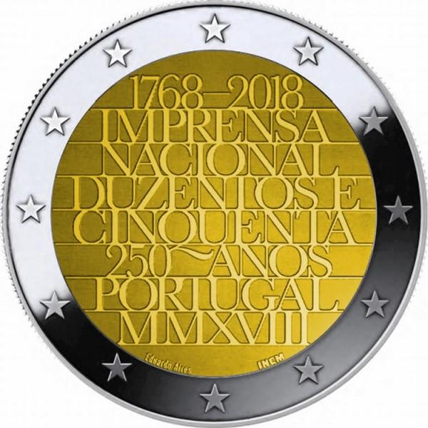 250th Anniversary of the mint house 2 Euros 2018 Unc Coin Portugal casa da moeda