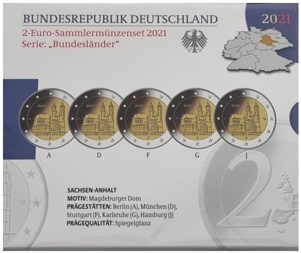 Germany 2 Euro 2021 Cathedral of Magdeburg - Saxony-Anhalt ...