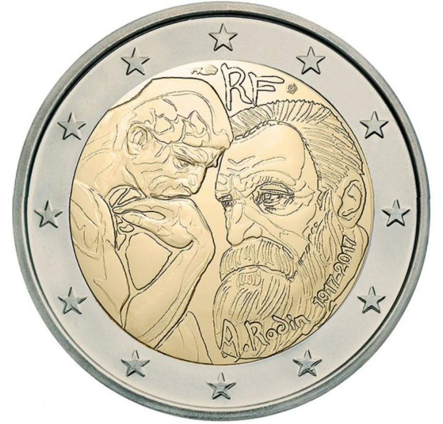 france 2 euro 2017 auguste rodin special 2 euro coins. Black Bedroom Furniture Sets. Home Design Ideas