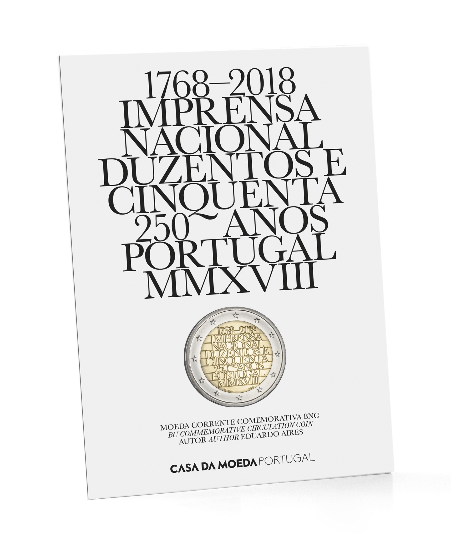 Portugal 2 Euro 2018 250th Anniversary National Printing Office Coincard